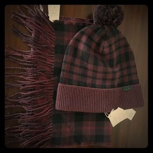 Coach Oxblood Pom Hat & Reversible Scarf